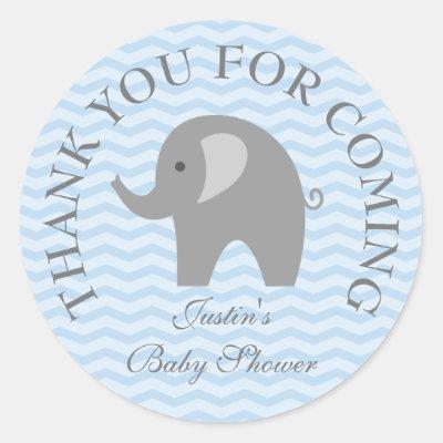Boy Baby Elephant Baby Shower Sticker | Zazzle.com