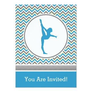 "Blue Chevron Gymnast Party Invitation 5.5"" X 7.5"" Invitation Card"