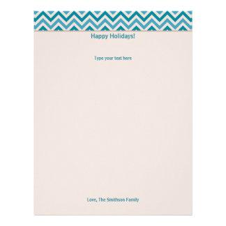 Blue Chevron Holiday / Christmas Letter Stationary Letterhead