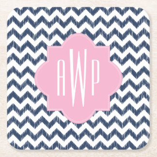 Blue Chevron Ikat Monogram Square Paper Coaster