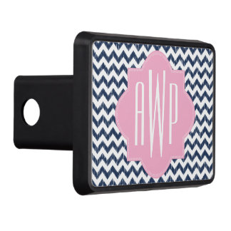 Blue Chevron Ikat Monogrammed Hitch Cover