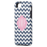 Blue Chevron Ikat Monogrammed iPhone 5/5S Case