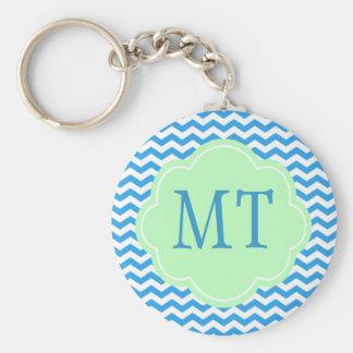 Blue chevron, light green shape, monogram basic round button keychain