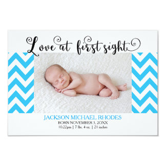 Blue Chevron Love @1st Sight-3x5Birth Announcement