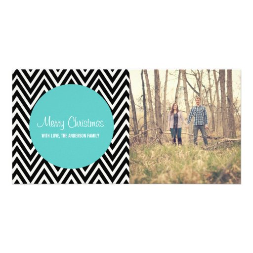 Blue Chevron Merry Christmas Photo Cards
