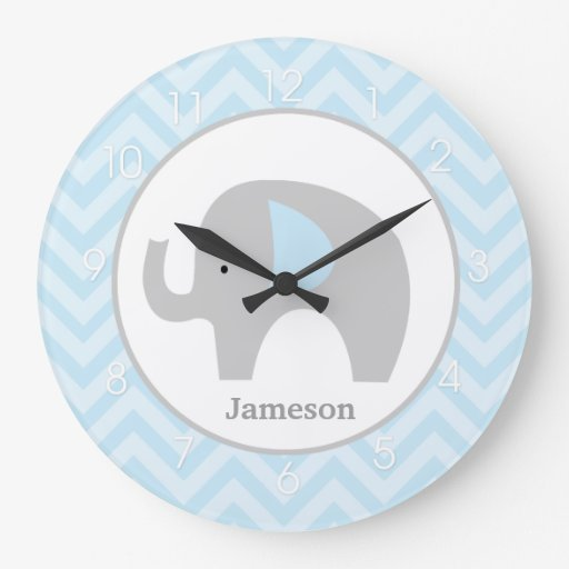 Blue Chevron Mod Elephant Clock - Add a Name