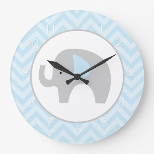 Blue Chevron Mod Elephant Large Wall Clock