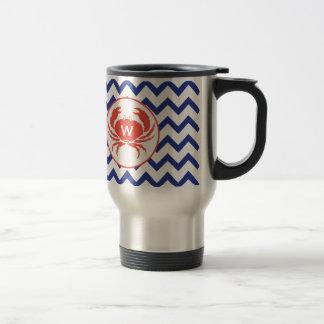 Blue Chevron & Monogram Crab Mug