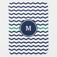 Blue Chevron Monogram Swaddle Blanket