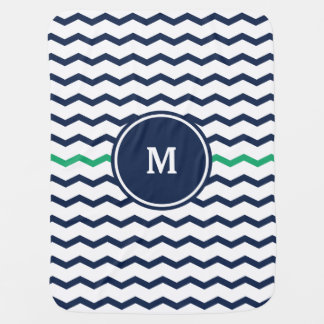 Blue Chevron Monogram Swaddle Blanket