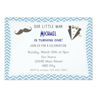 Blue Chevron Mustache Birthday Invitation
