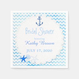 Blue Chevron n Anchor Nautical Bridal Shower Napkin
