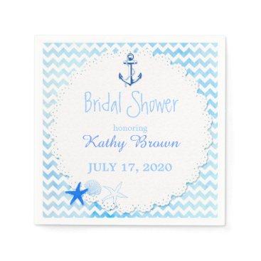 Beach Themed Blue Chevron n Anchor Nautical Bridal Shower Napkin