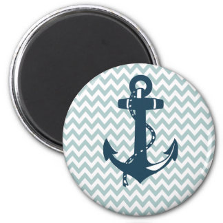 Blue Chevron Nautical Anchor 2 Inch Round Magnet
