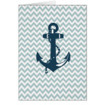 Blue Chevron Nautical Anchor Greeting Card