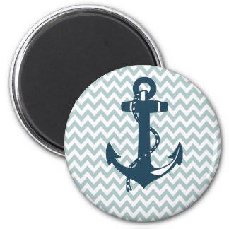 Blue Chevron Nautical Anchor Magnet