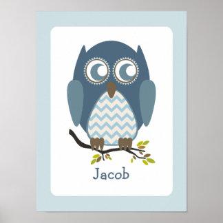 Blue Chevron Owl Personalized Nursery Artwork Posters