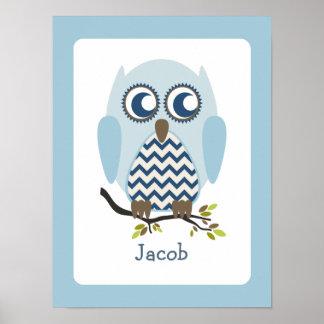 Blue + Chevron Owl Personalized Nursery Artwork Print