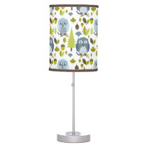 Blue Chevron Owls Lamp