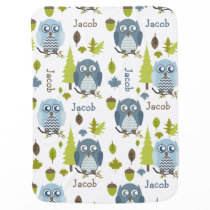 Blue Chevron Owls Personalized Blanket
