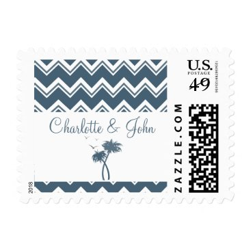 Beach Themed Blue Chevron Palm Trees Wedding postage