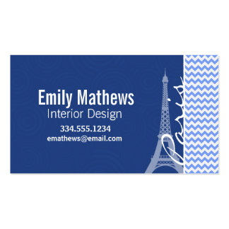Blue Chevron; Paris Business Card