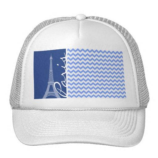 Blue Chevron; Paris Hats