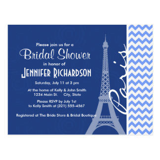 Blue Chevron; Paris Postcard