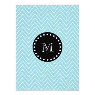 Blue Chevron Pattern | Black Monogram 5.5x7.5 Paper Invitation Card