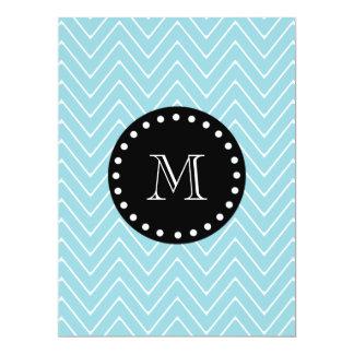 Blue Chevron Pattern | Black Monogram 6.5x8.75 Paper Invitation Card