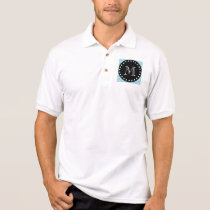 Blue Chevron Pattern | Black Monogram Polo Shirt