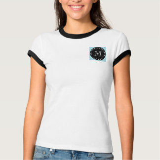 Blue Chevron Pattern | Black Monogram T-Shirt