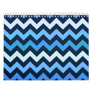 Blue Chevron Pattern Calendar