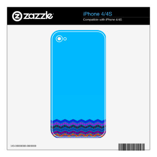 Blue Chevron Pattern Geometric Designs Color Decal For iPhone 4