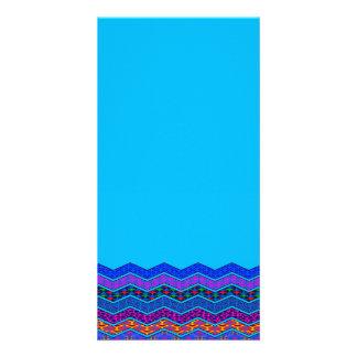Blue Chevron Pattern Geometric Designs Color Photo Cards