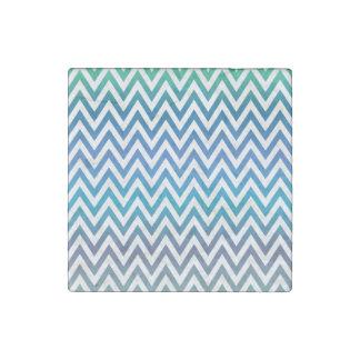 Blue chevron pattern stone magnet