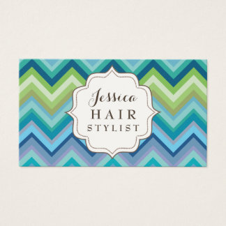Blue Chevron Pattern Hair Stylist Business Cards