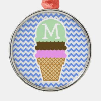 Blue Chevron Pattern; Ice Cream Cone Christmas Ornament