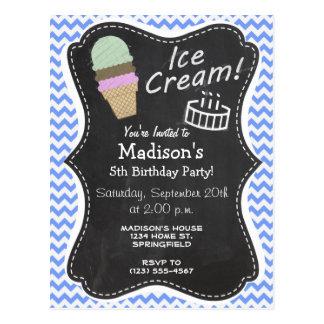 Blue Chevron Pattern; Ice Cream Cone Post Card