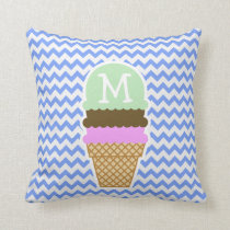 Blue Chevron Pattern; Ice Cream Cone Throw Pillow