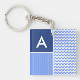 Blue Chevron Pattern Double-Sided Square Acrylic Keychain