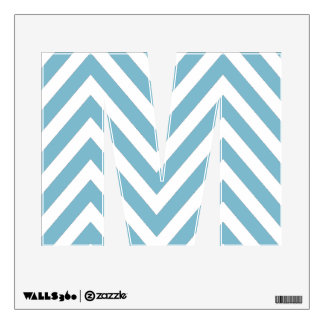 BLUE CHEVRON PATTERN LETTER M WALL DECAL
