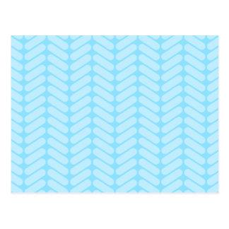Blue Chevron Pattern, Like Knitting. Postcard
