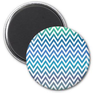 Blue chevron pattern 2 inch round magnet