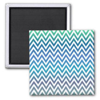 Blue chevron pattern 2 inch square magnet