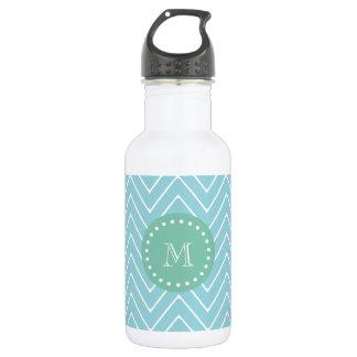 Blue Chevron Pattern | Mint Green Monogram 18oz Water Bottle