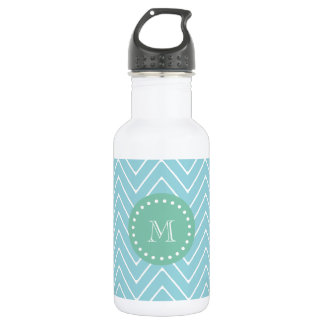 Blue Chevron Pattern | Mint Green Monogram Water Bottle