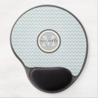 blue chevron pattern Monogram Gel Mouse Pad