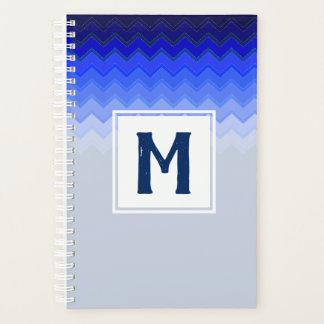 Blue Chevron Pattern Monogrammed Planner