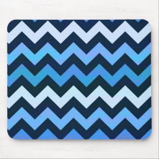Blue Chevron Pattern Mouse Pad